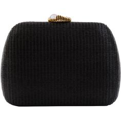 SERPUI Lolita Black Minaudière With Shell Clasp ($335) ❤ liked on Polyvore featuring bags, handbags, clutches, black, clasp closure handbags, seashell purse, clasp handbag, clasp purse and shell purse