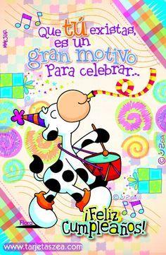 Vaca Flora tocando tambor en cumpleaños© ZEA www.tarjetaszea.com