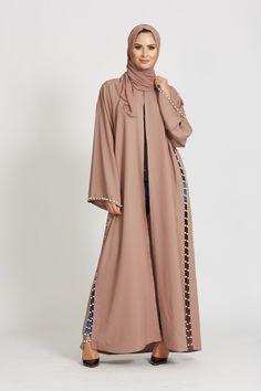 Abaya Buth | Pearl Open Jacket Abaya - Rose Taupe