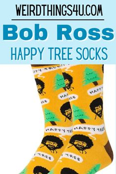 Bob Ross friends will love these HOT seller socks! These make the perfect stocking stuffer and are just a fun gift to give to anyone - we all need happy little trees in our lives! Nerd Humor, Sarcasm Humor, Mom Humor, Bob Ross Happy Trees, Ross Friends, Happy Little Trees, Husband Humor, Family Humor, Funny Outfits