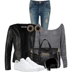 A fashion look from March 2015 featuring Boohoo sweaters, ONLY blazers and Ted Baker jeans. Browse and shop related looks.