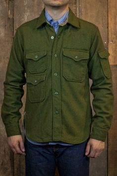 Engineered Garments CPO Shirt Jacket Olive Wool Flannel - Made in New York, NY | Shirts | Independence