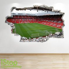 MANCHESTER UNITED STADIUM WALL STICKER 3D LOOK - BOYS KIDS FOOTBALL BEDROOM  Z48