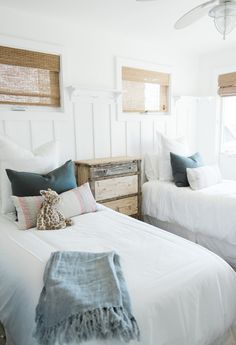 cottage style or lake house kids room twin beds guest room wainscoting Beach House Bedroom, Home Bedroom, Bedroom Decor, Beach Cottage Bedrooms, Lake House Bedrooms, Twin Bedroom Ideas, Lego Bedroom, Bedroom Interiors, Childs Bedroom