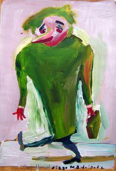 """El profesor"", gouache sobre papel, 24x 18 cm., year 1998"