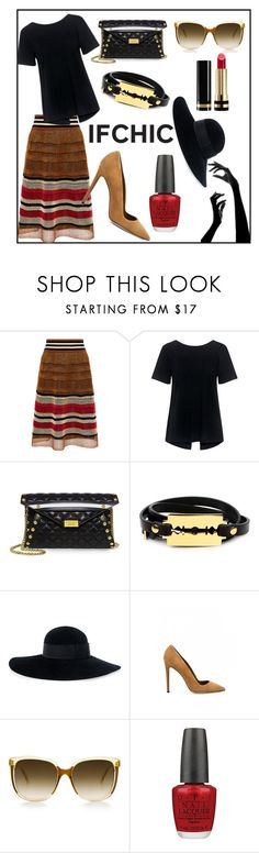 """""""IFCHIC: Black and Brown"""" by muskrosevintage ❤ liked on Polyvore featuring RED Valentino, A.L.C., Boutique Moschino, McQ by Alexander McQueen, Eugenia Kim, Dee Keller, Steven Alan, OPI and Gucci"""