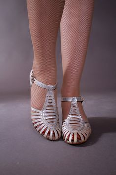 Vintage 1930s Shoes  Silver Metallic Low Heeled Dancing by FabGabs, $98.00