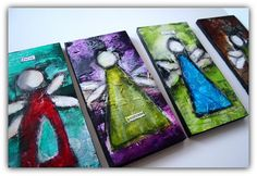 Inspirational Angels  mixed media on wood  4 by SweetRepeatsStudio, $20.00 New work in the shop!
