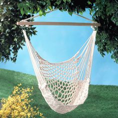 The weather is still fine enough to enjoy a long rest outside in this woven hammock-like chair. Bring a good book and a long drink.  Find the Hang It Up Chair, as seen in the The Treehouse at Camp Wandawega Collection at http://dotandbo.com/collections/the-treehouse-at-camp-wandawega?utm_source=pinterest&utm_medium=organic&db_sku=93272