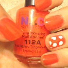 Orange and polka dots! Paint all nails orange and let dry. Get a white nail polish and put drops on a piece of paper or a plate.  Then get a dotting tool(or get the end of a paint brush) and Dip it into the nail polish. Gently dot your ring finger(or all nails!) with your tool to make polka dots. Let dry and put on a top coat!