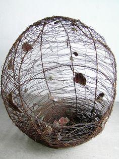 Wire, ceramic, wood Wire by Tabitha Sheehn Davis titled: 'Origin' Driftwood Sculpture, Sculpture Art, Metal Sculptures, Textile Sculpture, Sculpture Ideas, Abstract Sculpture, Bronze Sculpture, Willow Weaving, Basket Weaving