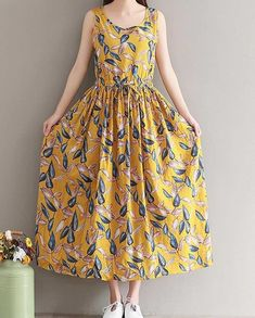 Women loose fit plus over size retro flower dress maxi tunic summer fashion chic #unbranded