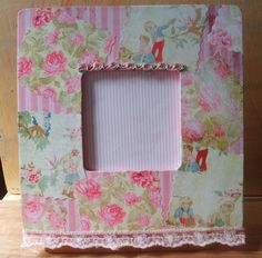 Shabby chic decoupaged picture frame