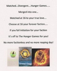 Matched, Divergent, and The Hunger Games♥