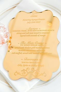 Price per One Menu, for bulk orders please message us :) Shown in Mirrored Gold and Clear These gorgeous laser-cut etched menus are absolutely stunnin. Wedding Menu, Wedding Stationary, Wedding Signs, Wedding Cards, Wedding Reception, Wedding Invitations, Wedding Hair, Bridal Hair, Wedding Ideas