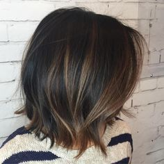 Black Choppy Bob With Brown Highlights