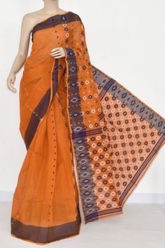Mustared Handwoven Bengali Tant Cotton Saree (Without Blouse) 17000