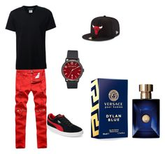 """""""Untitled #10"""" by mcginnrose ❤ liked on Polyvore featuring Neil Barrett, Puma, Ted Baker, New Era, Versace, men's fashion and menswear"""
