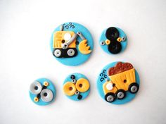 Button Work Trucks handmade polymer clay buttons  by digitsdesigns