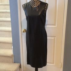 Ralph Lauren Leather Dress Beautiful Ralph Lauren Black Leather Dress. 100% Soft Leather Front, back of dress is stretchy knit. Pull on style. Longer length, would look great with boots. Professional dry clean. Very stylish & just in time for winter. Ralph Lauren Dresses