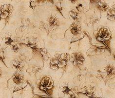 Leonardo da Vinci - Flower Study - peacoquettedesigns - Spoonflower