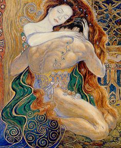 """--- >(This is not a Klimt painting. See comments below. Someone down the line has """"pin it"""" as a Klimt) Gustav Klimt, Art Indien, Art Amour, Twin Flame Love, Twin Flames, Inspiration Art, Couple Art, Tantra, Erotic Art"""