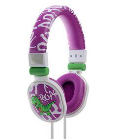 Love this Purple Dinosaur Volume Control On-Ear Headphones on #zulily! #zulilyfinds