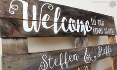 Holz Palette Einwegpalette Europalette beschriften bemalen Holzschild Wegweiser Hochzeit diy selber machen basteln weise Schrift Anleitung rustikal Geburtstag Vintage