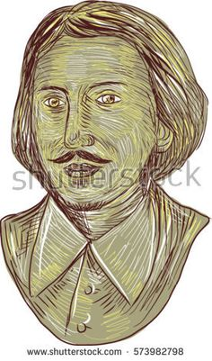 Drawing sketch style illustration of Christopher Marlowe, also known as Kit Marlowe, an English playwright, poet and translator of the Elizabethan era bust viewed from front set on white background.  #ChristopherMarlowe #sketch #illustration