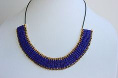 Royal Blue and Gold Safety Pin Necklace by BeadItbyBM on Etsy