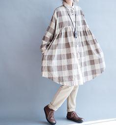 cotton oversize doll shirt Loose long shirt Women long by MaLieb