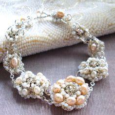 "Dainty Lace Wedding Bracelet / Peach & Ivory Pearls / Rhinestone Crystals / ""Athalie"""