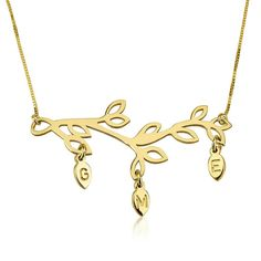 """Personalized Custom 24k Gold Plated Engraved Branch Mother Necklace Jewelry (16). Please Follow the Below Instructions Carefully To Customize Your Necklace:. 1) Select Chain Length. 2) Click Customize and Enter your Name. 3) Add The Product To Cart & In the Gift Message Box type in the Chain type you like """"Boxed or Rolo"""" You can see the shown images of both chain styles to decide. 4) That's It! We will customize this necklace in your name just like the design shown in the picture."""