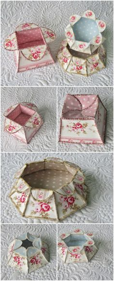 Flower Box Tutorial-free download - templates for square, hexagonal