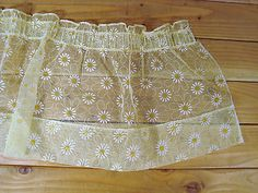 Vintage Yellow Daisy Flower Sheer Kitchen Valance Window 11x50 Flocked | eBay