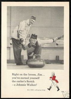 Annonce de cru de 1960 Johnnie Walker Curling Stone, Scotch Whiskey, Curlers, Birthday Funnies, Raptors, Event Planning, Celebrations, Sports, Rocks