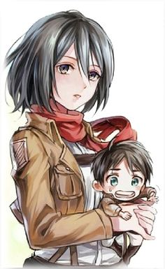 Chibi Eren and Mikasa ♡ Eremika | Shingeki no Kyojin (Attack on Titan) #SnK