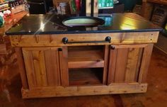 Big Green Egg Table -- Double Door Akorn Grill, Grill Table, Kamado Grill, Big Green Egg Table, Green Eggs, Cooler Stand, Palette, Grill Master, Table Plans