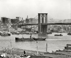 "New York circa 1908. ""Brooklyn Bridge and Manhattan skyline."" 8x10 inch dry plate glass negative, Detroit Publishing Company."