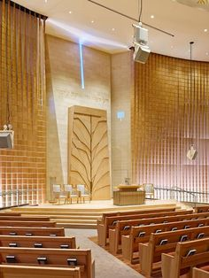 Adas Israel is part of Branding architecture Logo Stationery - For this large synagogue renovation, Eventscape was brought in to engineer, fabricate and install a large custom wood feature wall The wall was made Synagogue Architecture, Brand Architecture, Religious Architecture, Architecture Details, Church Interior Design, Church Stage Design, Church Welcome Center, Crea Design, Jewish Synagogue