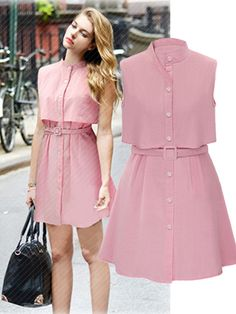 Solid Stand Collar Sleeveless A Linen Dress With Belt