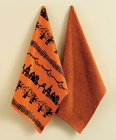 Take a look at this tag Black & Orange Haunted Neighborhood Dish Towel Set by Boil & Bubble: Entertaining Accents on #zulily today!