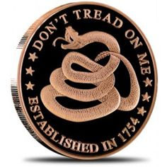 1 ounce Copper Rounds 'Don't Tread On Me' #Design Patriotic Design #smyrnacoin