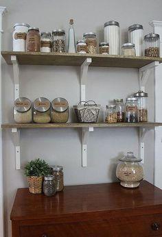 open shelving pantry, closet, home decor, kitchen design, shelving ideas Glass Wall Shelves, Glass Shelves Kitchen, Red Kitchen Decor, Kitchen Pantry, Pantry Closet, Open Kitchen, Kitchen Ideas, Pantry Ideas, Kitchen Reno