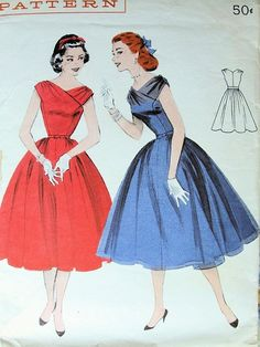 VINTAGE 1950s BUTTERICK 7381 EVENING PARTY DRESS PATTERN ROMANTIC SURPLICE STYLE, DRAPED SHOULDERS, FULL LOVELY SKIRT