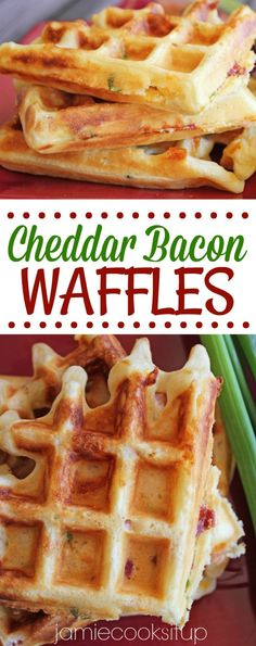 Loaded with cheddar cheese, crispy bacon and green onions, these savory waffles are a fun twist on the classic waffle. We eat them with a runny egg over the top and a side of the Sweet Potato Hash … Savory Waffles, Pancakes And Bacon, Homemade Waffles, Breakfast Waffles, Egg Recipes For Breakfast, Chicken And Waffles, Brunch Recipes, Bacon Pancake, Homemade Soup
