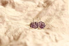 New dreamy item in my shop Amethyst jewelry Druzy dangle earring Crystal Purple Stone earring Small Romantic Anniversary gift for wife Birthday jewelry gift for women