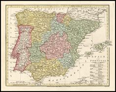 Detailed map of Spain (España), Portugal and the Balearic Islands, coloured by provinces.    Robert Wilkinson was active in London as a cartographic publisher from 1785 to 1825. He produced a number of nice works, including a General Atlas and a re-issuance of Bowen & Kitchen's English Atlas, along with excellent large format separate maps.
