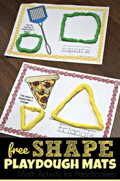 FREE Shape Playdough Mats are a fun, hands on math activity for preschool, prek, and kindergarten age kids - Education and lifestyle Free Preschool, Preschool Learning, Kindergarten Activities, Preschool Shapes, Kindergarten Age, Teaching, Shapes Flashcards, Shapes Worksheets, Kids Worksheets