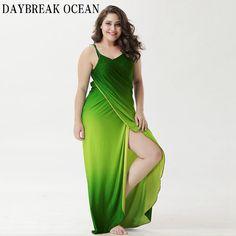 68c94553d39 Boho Long Maxi Wrap Gradient Color, Halter Maxi Dresses, Beach Dresses,  Green Beach